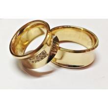 Aliança Côncava 9.5mm 10 Pontos Em Diamante Alianças Tradicionais