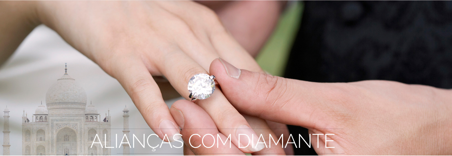 Alianças com diamante
