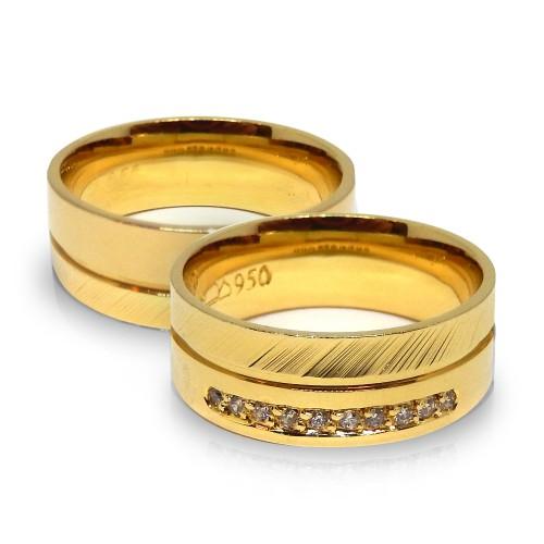 Aliança Quadrada Anatômica Com o Trabalhado Diamantado Alianças com Diamantes