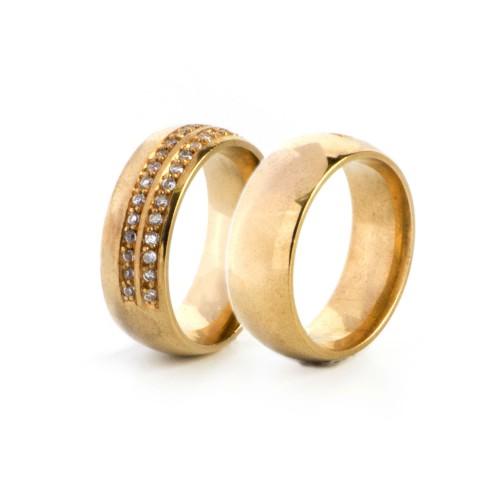 Aliança Tradicional 7mm 14 Pontos em Diamante Alianças com Diamantes