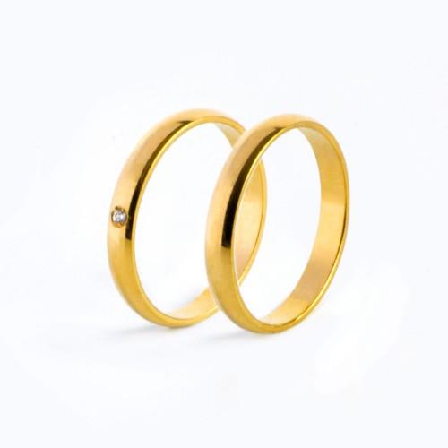 Aliança Tradicional 1 Ponto Em Diamante Alianças Tradicionais